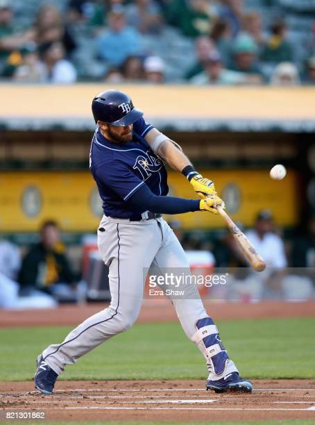 Evan Longoria of the Tampa Bay Rays bats against the Oakland Athletics at Oakland Alameda Coliseum on July 18 2017 in Oakland California