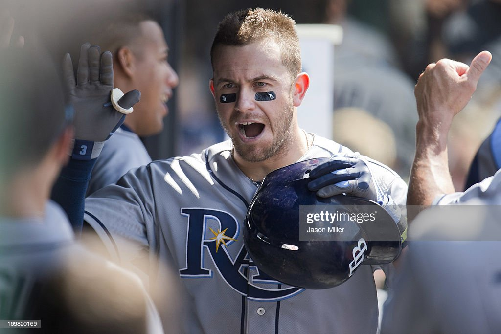 <a gi-track='captionPersonalityLinkClicked' href=/galleries/search?phrase=Evan+Longoria&family=editorial&specificpeople=2349329 ng-click='$event.stopPropagation()'>Evan Longoria</a> #3 of the Tampa Bay Rays celebrates after hitting a two run home run during the eighth inning against the Cleveland Indians at Progressive Field on June 2, 2013 in Cleveland, Ohio.