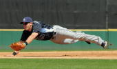 Evan Longoria of the Tampa Bay Rays dives for a baseball during the spring training game against the Detroit Tigers at Joker Marchant Stadium on...