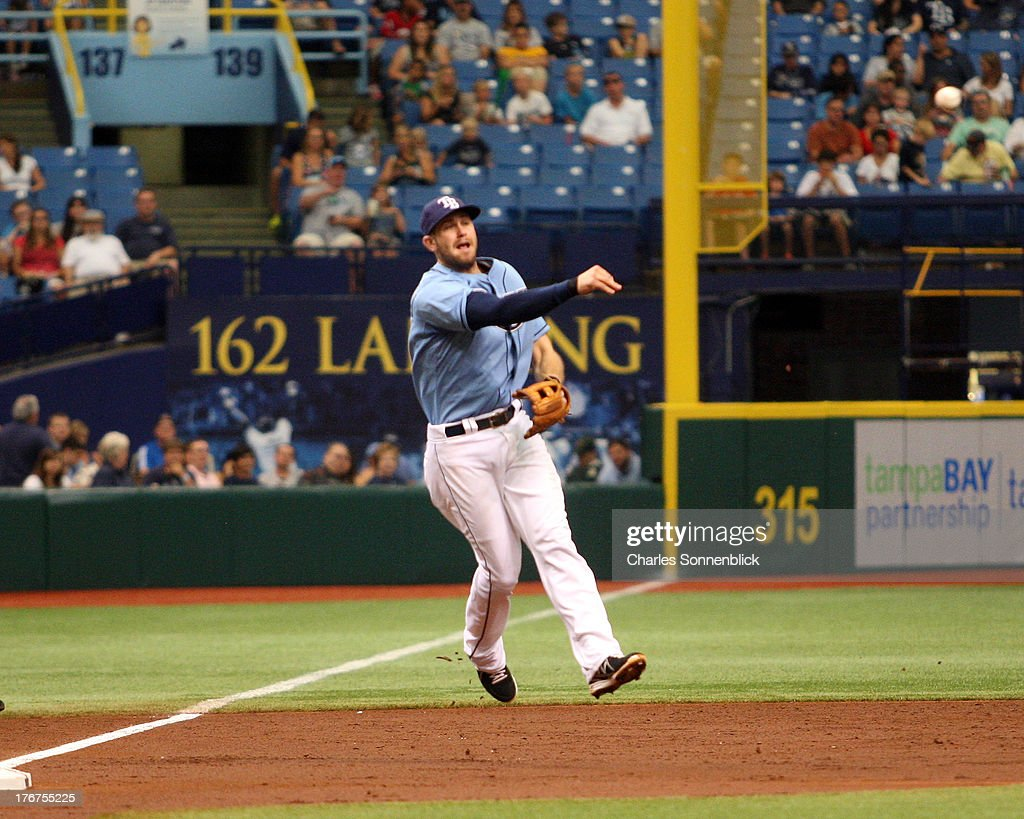 <a gi-track='captionPersonalityLinkClicked' href=/galleries/search?phrase=Evan+Longoria&family=editorial&specificpeople=2349329 ng-click='$event.stopPropagation()'>Evan Longoria</a> #3 of the Tampa Bay Rays fiields a ground ball in the third inning against the Toronto Blue Jays during the game on August 18, 2013 at Tropicana Field in St. Petersburg, Florida.