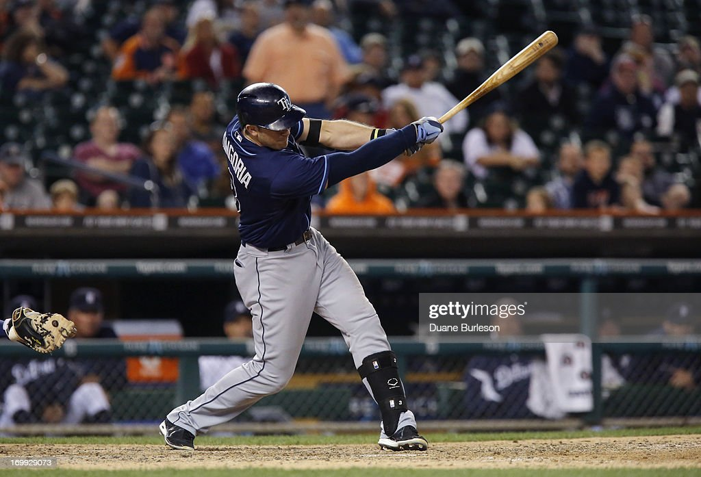 <a gi-track='captionPersonalityLinkClicked' href=/galleries/search?phrase=Evan+Longoria&family=editorial&specificpeople=2349329 ng-click='$event.stopPropagation()'>Evan Longoria</a> #3 of the Tampa Bay Rays grounds out to end the game against the Detroit Tigers at Comerica Park on June 4, 2013 in Detroit, Michigan.