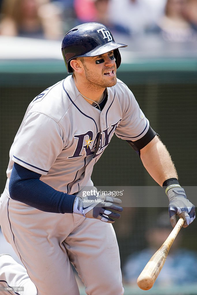 <a gi-track='captionPersonalityLinkClicked' href=/galleries/search?phrase=Evan+Longoria&family=editorial&specificpeople=2349329 ng-click='$event.stopPropagation()'>Evan Longoria</a> #3 of the Tampa Bay Rays hits an RBI single during the second inning against the Cleveland Indians at Progressive Field on June 2, 2013 in Cleveland, Ohio.