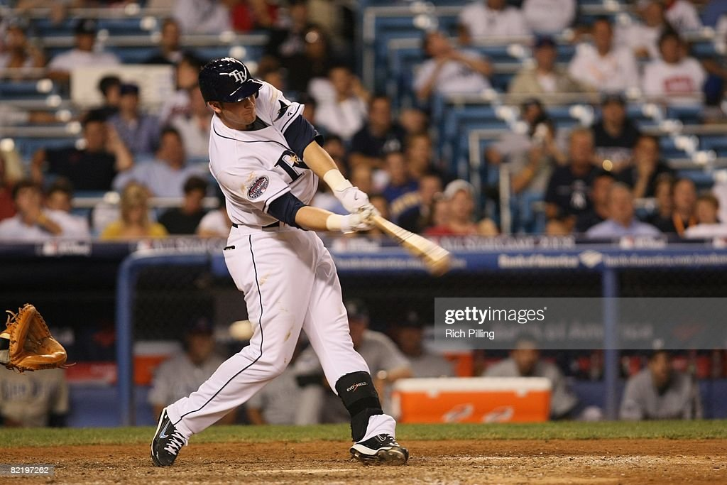 Evan Longoria #3 of the Tampa Bay Rays hits during the 79th MLB All-Star Game at the Yankee Stadium in the Bronx, New York on July 15, 2008. The American League defeated the National League 4-3.