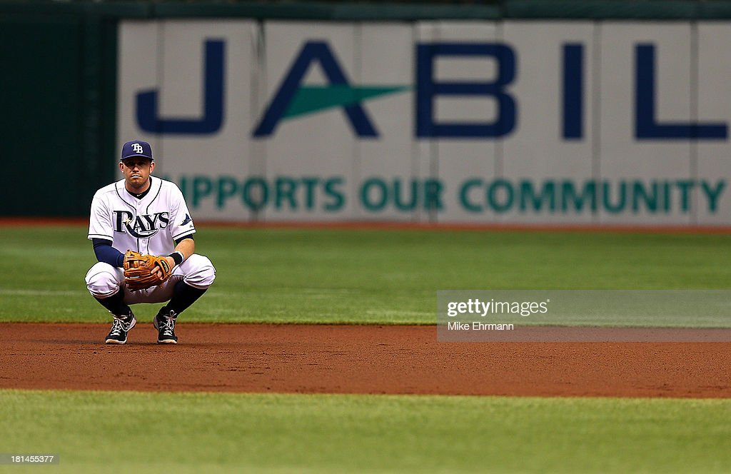 <a gi-track='captionPersonalityLinkClicked' href=/galleries/search?phrase=Evan+Longoria&family=editorial&specificpeople=2349329 ng-click='$event.stopPropagation()'>Evan Longoria</a> #3 of the Tampa Bay Rays looks on during a game against the Baltimore Orioles at Tropicana Field on September 21, 2013 in St Petersburg, Florida.