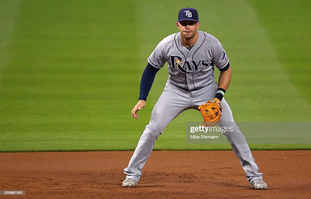 Evan Longoria #3 of the Tampa Bay Rays looks on during a game against the Miami Marlins at Marlins Park on May 24, 2016 in Miami, Florida.