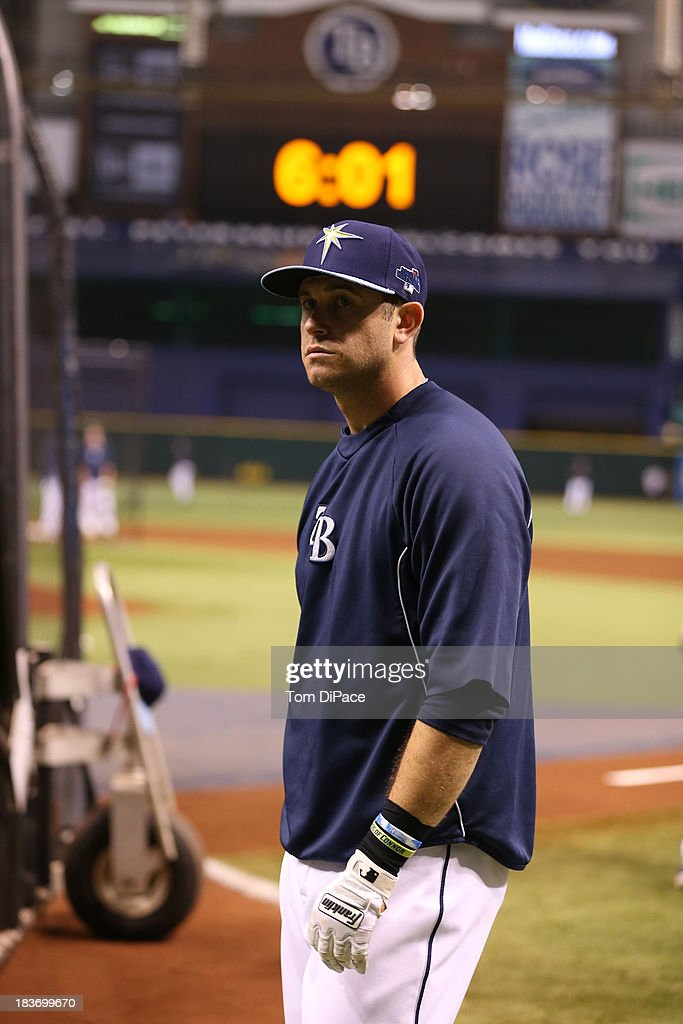 Evan Longoria #3 of the Tampa Bay Rays looks on during batting practice before Game 4 of the American League Division Series against the Boston Red Sox on Monday, October 8, 2013 at Tropicana Field in St. Petersburg, FL.