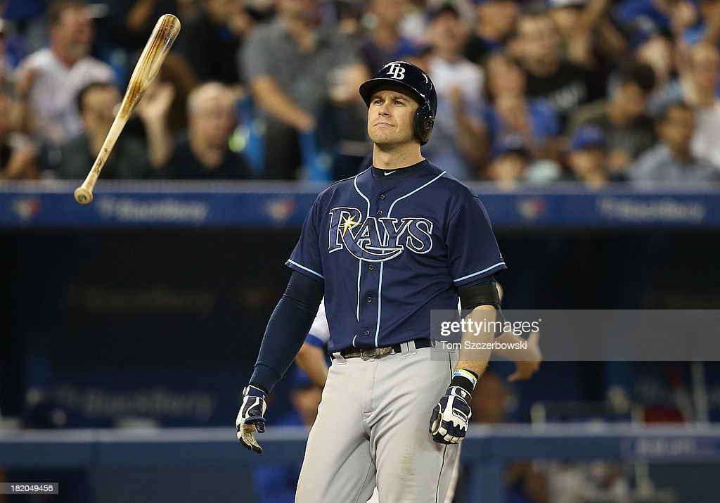 <a gi-track='captionPersonalityLinkClicked' href=/galleries/search?phrase=Evan+Longoria&family=editorial&specificpeople=2349329 ng-click='$event.stopPropagation()'>Evan Longoria</a> #3 of the Tampa Bay Rays reacts after striking out in the sixth inning during MLB game action against the Toronto Blue Jays on September 27, 2013 at Rogers Centre in Toronto, Ontario, Canada.