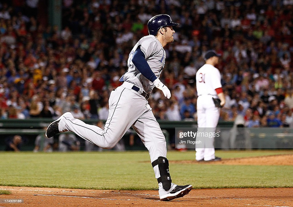 Evan Longoria #3 of the Tampa Bay Rays rounds the bases after hitting a home run on a pitch by Jon Lester #31 of the Boston Red Sox in the 6th inning at Fenway Park on July 23, 2013 in Boston, Massachusetts.
