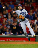 Evan Longoria of the Tampa Bay Rays throws to first base in the sixth inning against the Boston Red Sox during the game at Fenway Park on September...