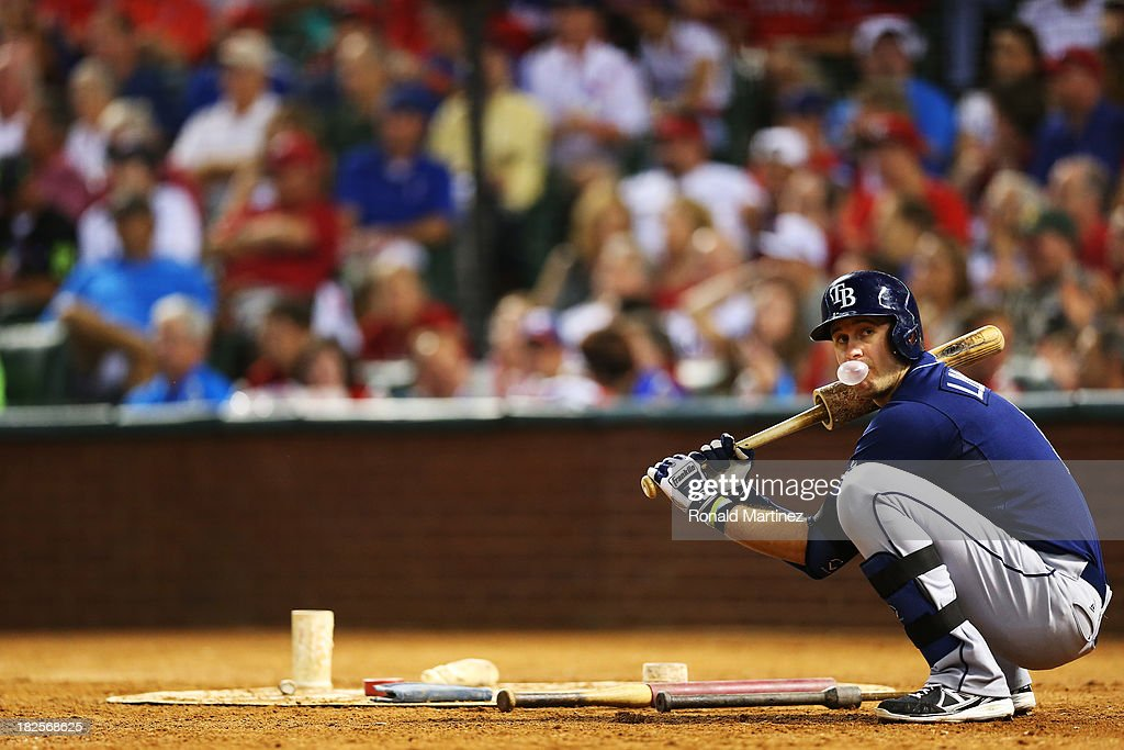 <a gi-track='captionPersonalityLinkClicked' href=/galleries/search?phrase=Evan+Longoria&family=editorial&specificpeople=2349329 ng-click='$event.stopPropagation()'>Evan Longoria</a> #3 of the Tampa Bay Rays waits on deck against the Texas Rangers during the American League Wild Card tiebreaker game at Rangers Ballpark in Arlington on September 30, 2013 in Arlington, Texas.