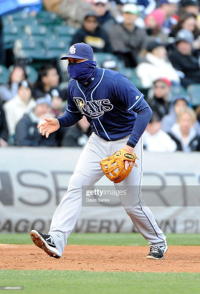 <a gi-track='captionPersonalityLinkClicked' href=/galleries/search?phrase=Evan+Longoria&family=editorial&specificpeople=2349329 ng-click='$event.stopPropagation()'>Evan Longoria</a> #3 of the Tampa Bay Rays wears a balaclava to stay warm during the first inning of a game against the Chicago White Sox on April 26, 2014 at U.S. Cellular Field in Chicago, Illinois.