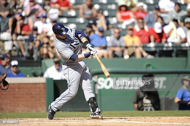 Evan Longoria#3 of the Tampa Bay Rays bats during the game against the Texas Rangers at Rangers Ballpark in Arlington in Arlington Texas on Sunday...