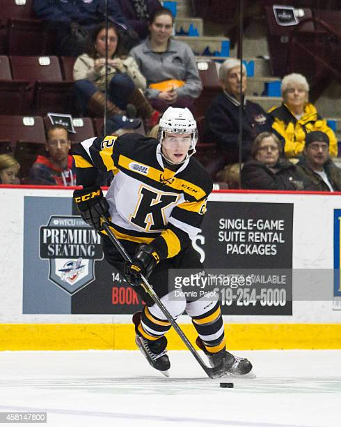 Evan McEneny of the Kingston Frontenacs moves the puck against the Windsor Spitfires on October 30 2014 at the WFCU Centre in Windsor Ontario
