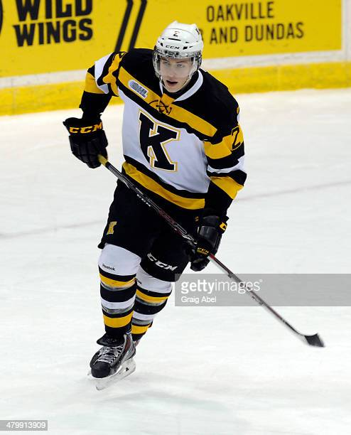 Evan McEneny of the Kingston Frontenacs skates up ice against the Mississauga Steelheads during game action on March 16 2014 at the Hershey Centre in...