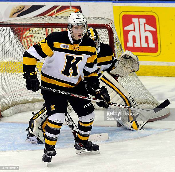 Evan McEneny of the Kingston Frontenacs watches the play against the Mississauga Steelheads during game action on March 16 2014 at the Hershey Centre...