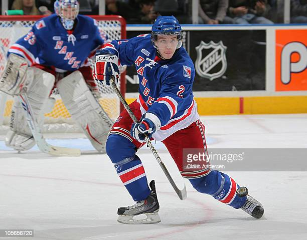 Evan McEneny of the Kitchener Rangers fires a pass up ice in a game against the London Knights on October 162010 at the John Labatt Centre in London...