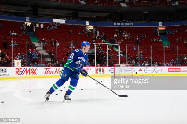 Evan McEneny of the Vancouver Canucks skates before his NHL game against the San Jose Sharks at Rogers Arena February 25 2017 in Vancouver British...