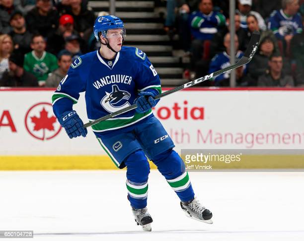 Evan McEneny of the Vancouver Canucks skates up ice during their NHL game against the San Jose Sharks at Rogers Arena February 25 2017 in Vancouver...