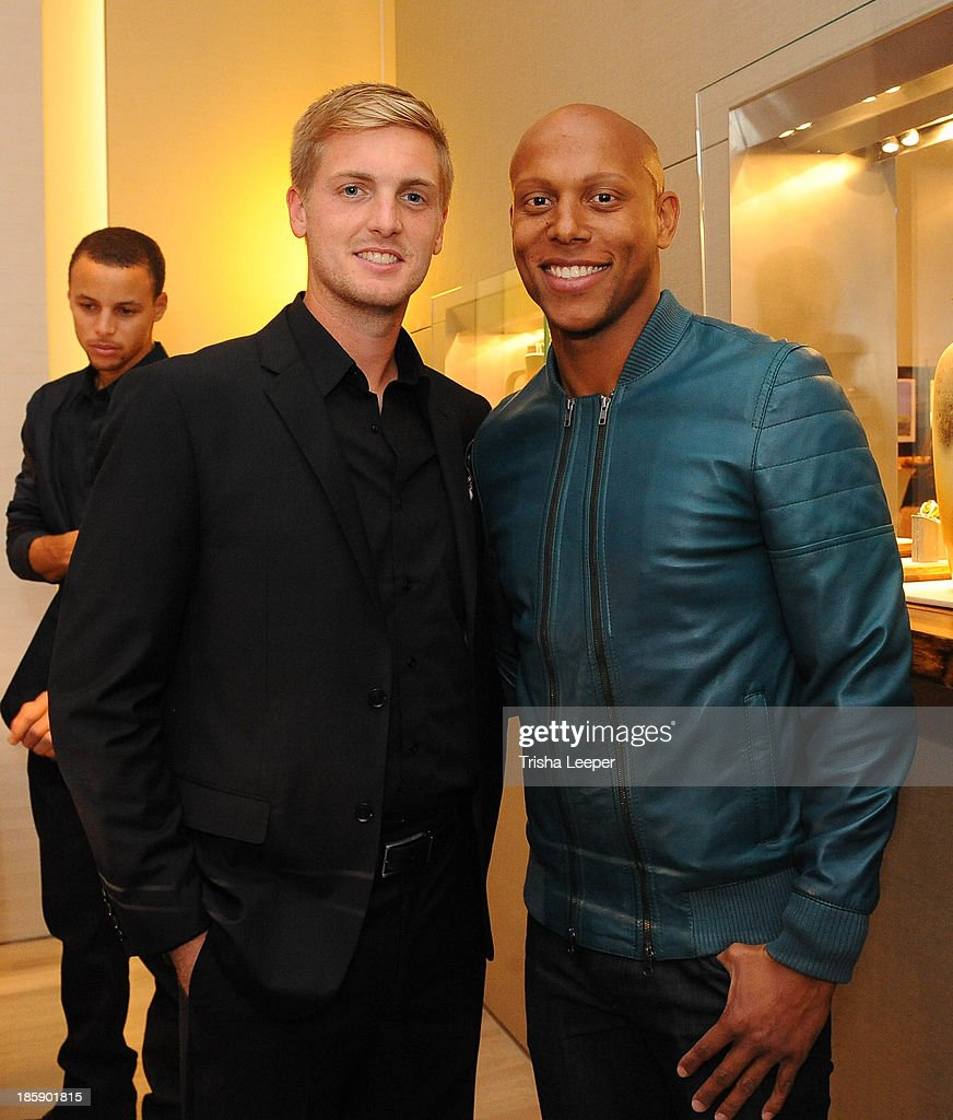Evan Newton (L) and Jordan Stewart attend the David Yurman Launch of The Meteorite Collection With Kent Bazemore at Westfield Valley Fair on October 25, 2013 in Santa Clara, California.