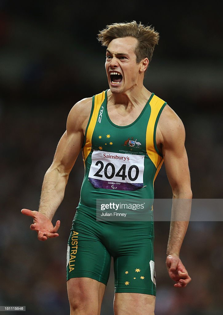 Evan O'Hanlon of Australia celebrates winning gold in the Men's 100m - T38 Final on day 3 of the London 2012 Paralympic Games at Olympic Stadium on September 1, 2012 in London, England.