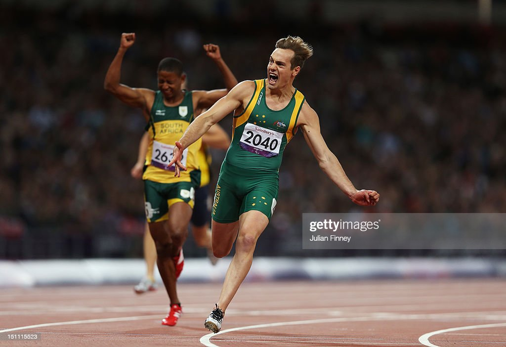 Evan O'Hanlon of Australia crosses the line to win gold in the Men's 100m - T38 Final on day 3 of the London 2012 Paralympic Games at Olympic Stadium on September 1, 2012 in London, England.