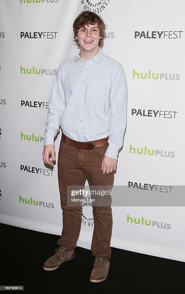 <a gi-track='captionPersonalityLinkClicked' href=/galleries/search?phrase=Evan+Peters&family=editorial&specificpeople=2301160 ng-click='$event.stopPropagation()'>Evan Peters</a> arrives at the 30th Annual PaleyFest: The William S. Paley Television Festival - 'American Horror Story: Asylum' - closing night presentation held at Saban Theatre on March 15, 2013 in Beverly Hills, California.
