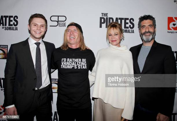 Evan Peters Bryan Buckley Melanie Griffith and Mino Jarjoura attend the premiere of 'The Pirates Of Somalia' at TCL Chinese 6 Theatres on December 6...