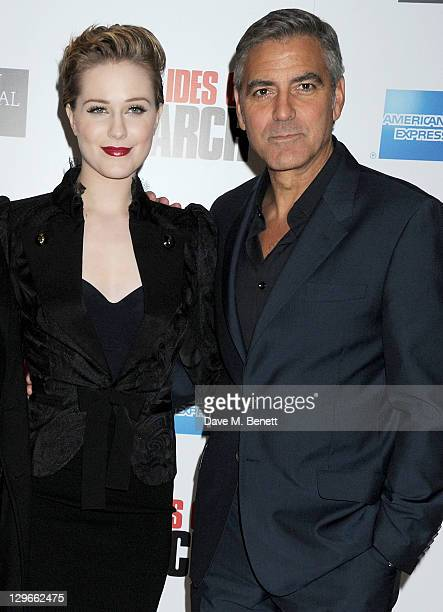 Evan Rachel Wood and George Clooney attend a Gala Screening of 'The Ides Of March' during the 55th BFI London Film Festival at Odeon Leicester Square...