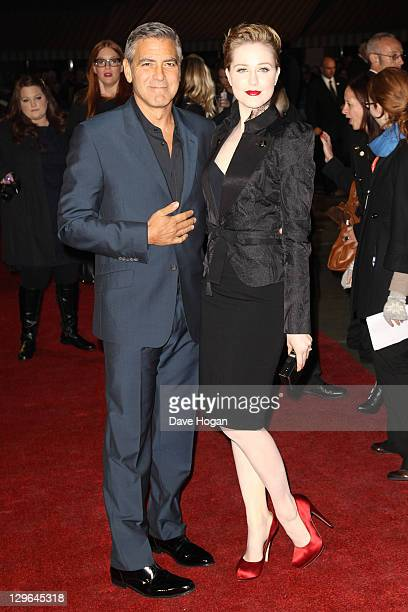 Evan Rachel Wood and George Clooney attend the gala screening for 'The Ides Of March' at The 55th BFI London Film Festival at The Odeon Leicester...