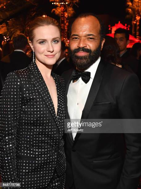 Evan Rachel Wood and Jeffrey Wright attend the HBO's Official 2017 Emmy After Party at The Plaza at the Pacific Design Center on September 17 2017 in...