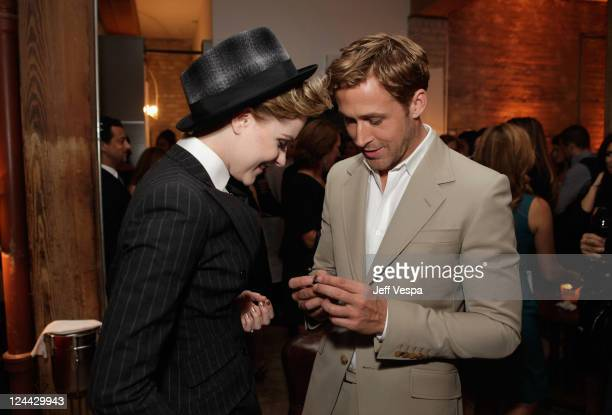 Evan Rachel Wood and Ryan Gosling attend 'The Ides of March' party hosted by GREY GOOSE Vodka at Soho House Pop Up Club during the 2011 Toronto...