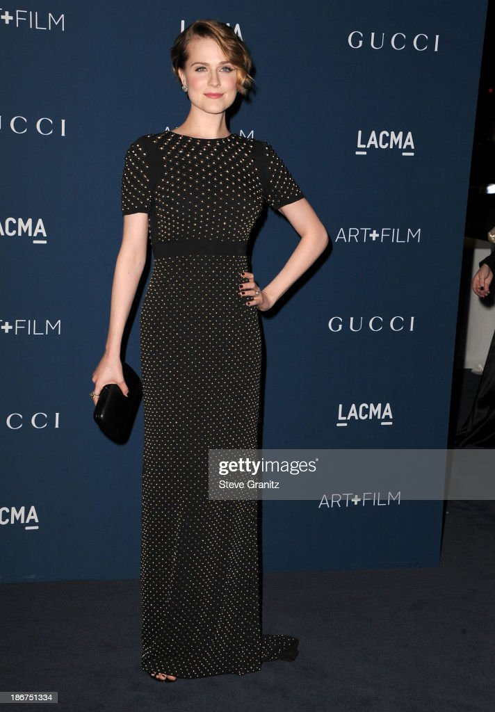 <a gi-track='captionPersonalityLinkClicked' href=/galleries/search?phrase=Evan+Rachel+Wood&family=editorial&specificpeople=203074 ng-click='$event.stopPropagation()'>Evan Rachel Wood</a> arrives at the LACMA 2013 Art + Film Gala at LACMA on November 2, 2013 in Los Angeles, California.