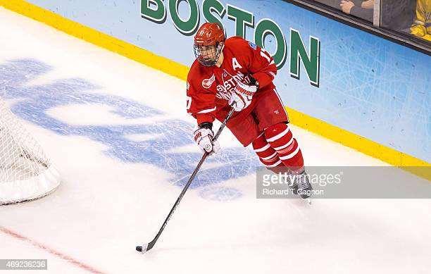 Evan Rodrigues of the Boston University Terriers skates against North Dakota during the 2015 NCAA Division I Men's Hockey Frozen Four Championship...