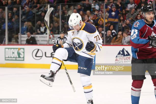 Evan Rodrigues of the Buffalo Sabres celebrates after scoring a goal against the Colorado Avalanche at the Pepsi Center on February 25 2017 in Denver...
