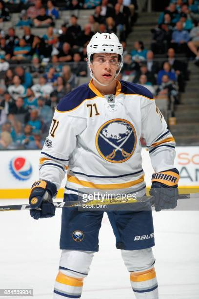 Evan Rodrigues of the Buffalo Sabres looks during a NHL game against the San Jose Sharks at SAP Center at San Jose on March 14 2017 in San Jose...