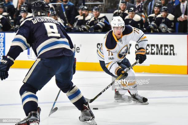 Evan Rodrigues of the Buffalo Sabres skates against the Columbus Blue Jackets on March 28 2017 at Nationwide Arena in Columbus Ohio Columbus defeated...