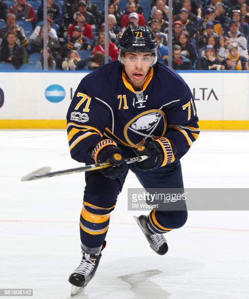 Evan Rodrigues of the Buffalo Sabres skates against the Montreal Canadiens during an NHL game at KeyBank Center on April 5 2017 in Buffalo New York