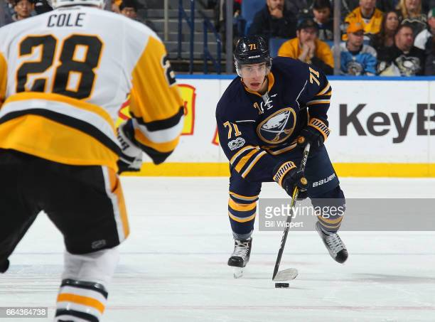Evan Rodrigues of the Buffalo Sabres skates against the Pittsburgh Penguins during an NHL game at the KeyBank Center on March 21 2017 in Buffalo New...