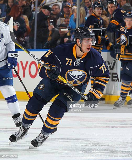 Evan Rodrigues of the Buffalo Sabres skates against the Tampa Bay Lightning during an NHL game at the KeyBank Center on November 17 2016 in Buffalo...