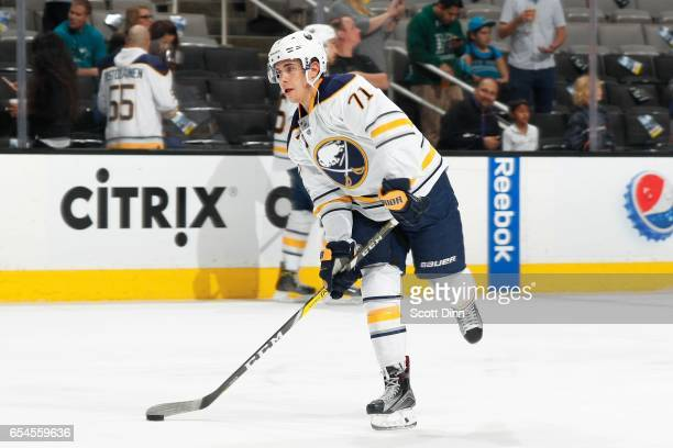 Evan Rodrigues of the Buffalo Sabres skates during a NHL game against the San Jose Sharks at SAP Center at San Jose on March 14 2017 in San Jose...