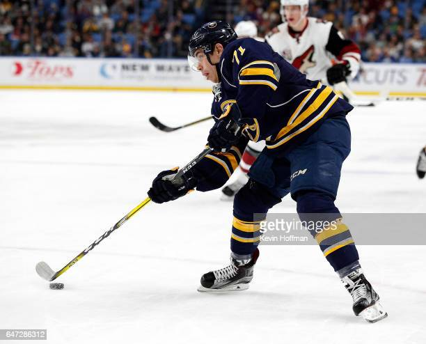 Evan Rodrigues of the Buffalo Sabres skates in on the Arizona Coyotes goal during the second period at the KeyBank Center on March 2 2017 in Buffalo...