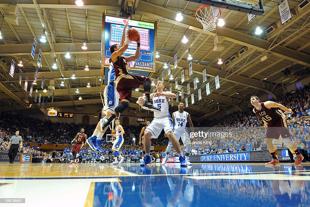 Evan Roquemore #0 of the Santa Clara Broncos goes to the hoop against the Duke Blue Devils at Cameron Indoor Stadium on December 29, 2012 in Durham, North Carolina. Duke defeated Santa Clara 90-77.