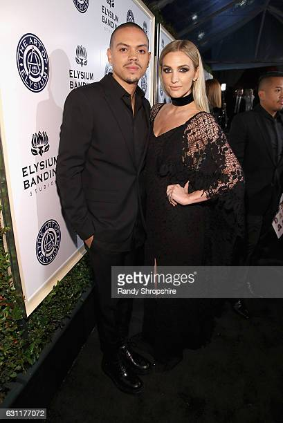 Evan Ross and Ashlee Simpson attend The Art of Elysium presents Stevie Wonder's HEAVEN Celebrating the 10th Anniversary at Red Studios on January 7...