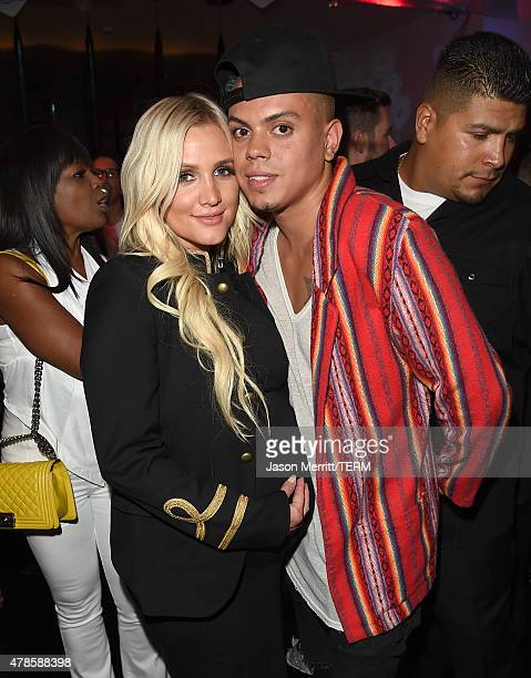 Evan Ross and Ashlee Simpson attend the STK Los Angeles reveal event at the W Los Angeles West Beverly Hills on June 25 2015 in Los Angeles California