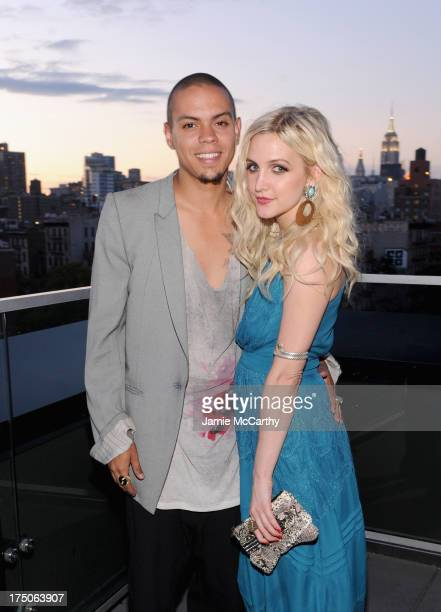 Evan Ross and Ashlee Simpson wearing a Jessica Simpson dress attend the launch of the Jessica Simpson Fall 2013 Campaign hosted by Ashlee Simpson at...