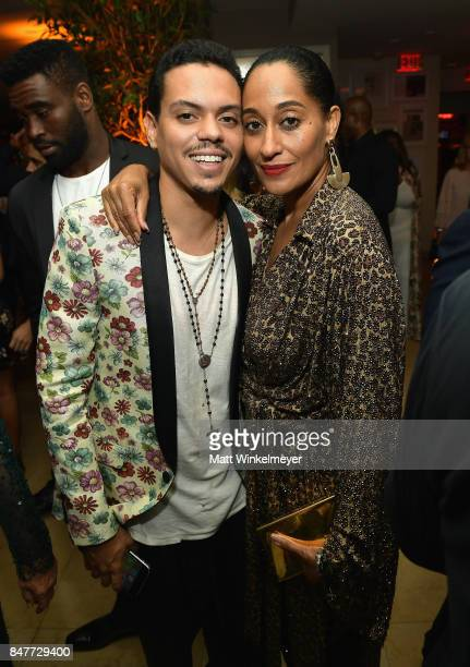 Evan Ross and Tracee Ellis Ross attend the 2017 Entertainment Weekly PreEmmy Party at Sunset Tower on September 15 2017 in West Hollywood California