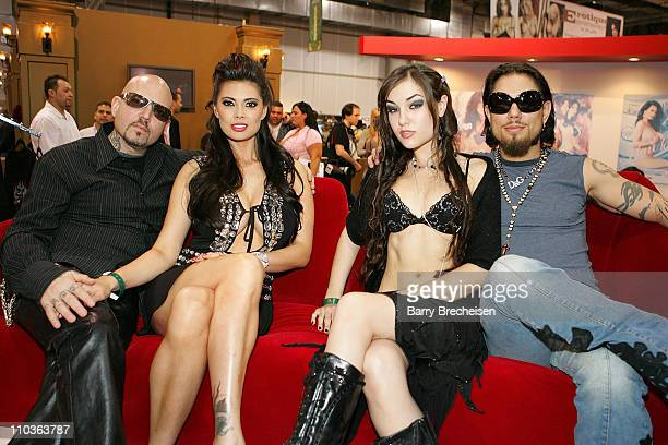 Evan Seinfeld Tera Patrick Sasha Grey and musician Dave Navarro at the Teravision booth in the Sands Expo Center at the 2008 AVN Adult Entertainment...