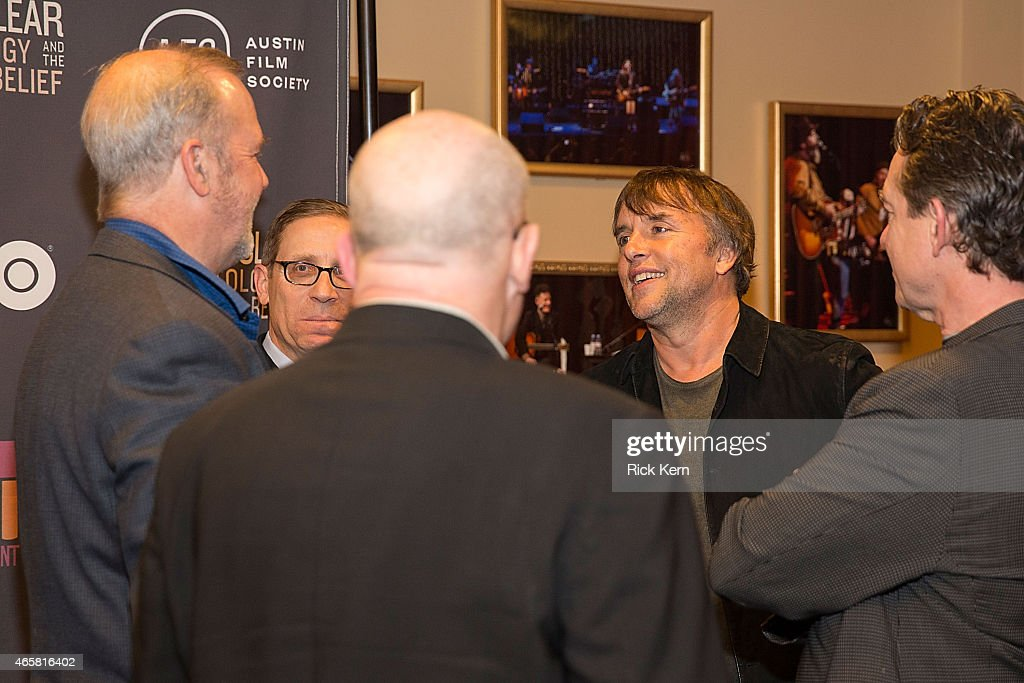 Evan Smith, Editor-in-Chief of The Texas Tribune (L) and Richard Linklater, Founder, Austin Film Society attend a special screening of 'Going Clear: Scientology and the Prison of Belief' at the Paramount Theatre on March 10, 2015 in Austin, Texas.