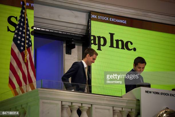 Evan Spiegel cofounder and chief executive officer of Snap Inc left and Bobby Murphy cofounder and chief technology officer at Snap Inc right arrive...