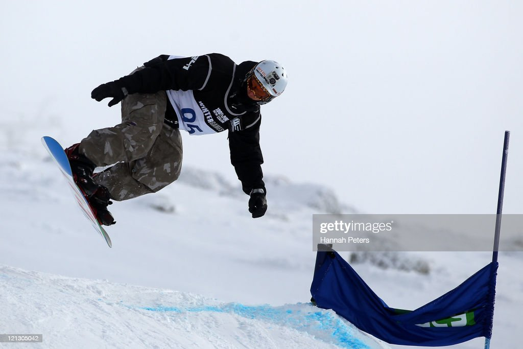 Evan Strong of the United States of America competes in the Snowboard Cross Adaptive Standing Men during day six of the Winter Games NZ at Cardrona Alpine Resort on August 18, 2011 in Wanaka, New Zealand.